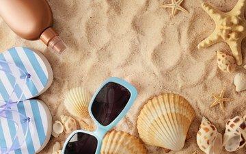 песок, пляж, лето, очки, ракушки, отдых, морская звезда, песка, seashells, каникулы, сланцы, летнее, аксессуаров
