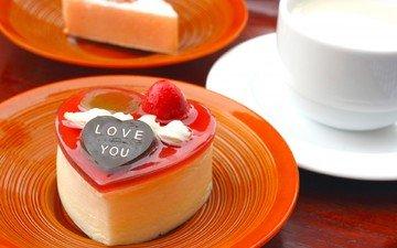 сердечко, сердце, ягоды, чашка, тарелки, шоколад, молоко, сладкое, десерт, пирожное