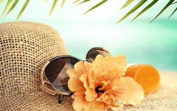 море, цветок, пляж, лето, очки, отдых, бокалы, вс, шляпа, каникулы, летнее, аксессуаров