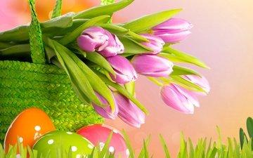 цветы, весна, корзина, тюльпаны, пасха, яйца