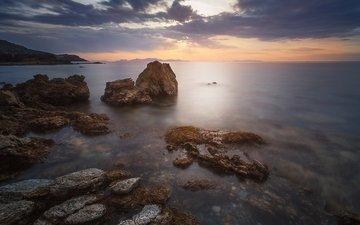 небо, скалы, камни, берег, закат, пейзаж, море, побережье, океан, греция, theo triadafillos