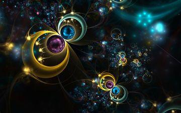 арт, фон, цвет, фракталы, круги, золотые, фрактал, фрактальные