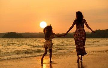 пляж, девочка, мама, женщина, дочка