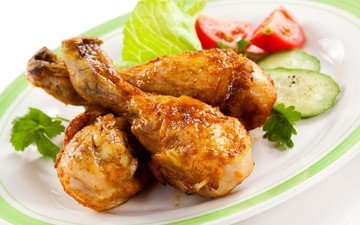 мясо, помидоры, курица, салат, огурец, куриные ножки