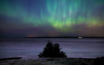night, winter, stars, northern lights, finland