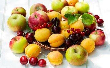 фрукты, яблоки, черешня, ягоды, вишня, смородина, абрикосы