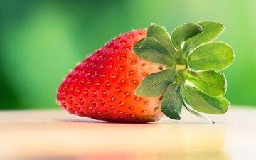 ягода, красная, клубника, вкусная