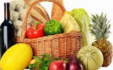 фрукты, яблоки, лук, хлеб, корзина, вино, овощи, яйца, ананас, перец, капуста, дыня, петрушка