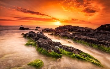 небо, облака, скалы, солнце, камни, закат, пейзаж, море, туман, горизонт, побережье, водоросли, маноло, manolo garcia