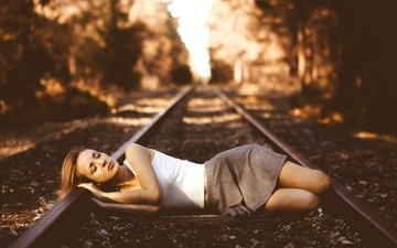 railroad, girl, the situation