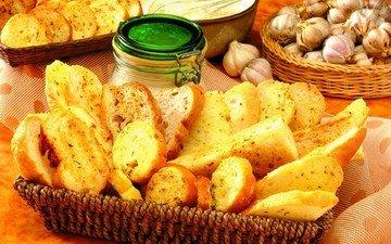 хлеб, багет, кусочки, выпечка, чеснок, приправа
