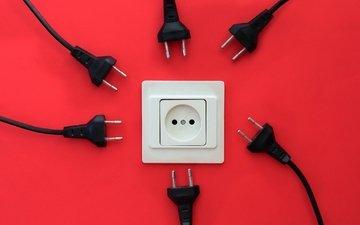 фон, красный, кабель, вилки, розетка, соединение, conexion, rojo