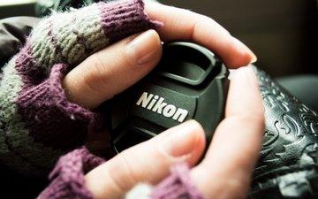 макро, руки, пальцы, камера, никон, перчатки, ногти, крышка, митенки
