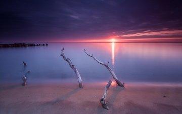 небо, пляж, горизонт, рассвет, океан