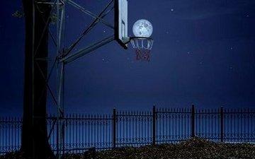 ночь, луна, баскетбол