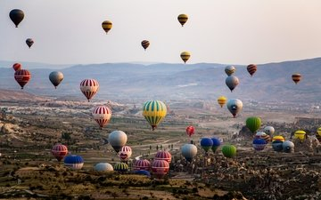 горы, шары, воздушные шары, долина