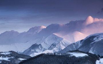 небо, облака, снег, зима, италия, апеннинские горы