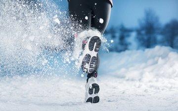 снег, зима, девушка, время года, бежит, кросовки