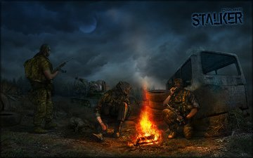 night, soldiers, stalker, area, tractor, bus