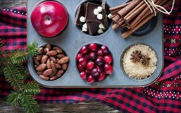 зима, ветки, корица, яблоки, ель, шоколад, сахар, миндаль, пряности, еловая ветка, анис