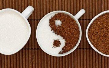кофе, чашки, сахар, инь и янь, ин-янь, кофе растворимый