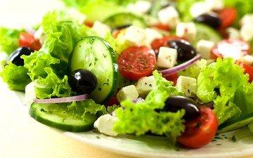 лук, сыр, овощи, укроп, помидоры, оливки, маслины, огурцы, фета, cалат, греческий салат