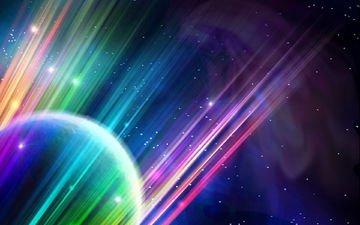 свет, абстракция, линии, лучи, звезды, планета, цвет, сфера, шар