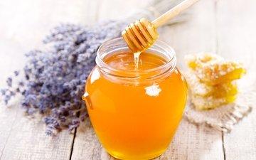 цветы, лаванда, соты, сладкое, мед, банка, ложечка, деревянная, медовые, веретено