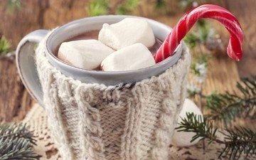 новый год, зима, ветки, еда, конфеты, ель, чашка, рождество, зефир, трость, леденец, какао, палочка, встреча нового года, еловая ветка, елочная, маршмэллоу