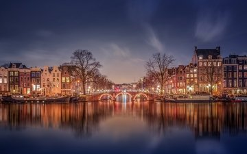 огни, вечер, канал, дома, нидерланды, амстердам