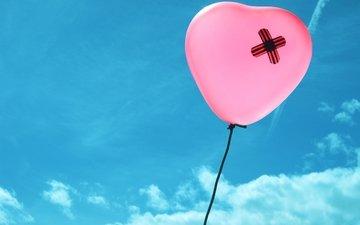небо, сердце, воздушный шар, рана, раны на сердце