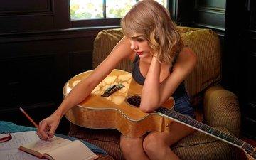 гитара, ноты, актриса, тейлор свифт, автор песен, записи, кантри-поп-исполнительница
