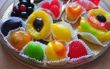 фрукты, конфеты, сладкое, десерт, мармелад