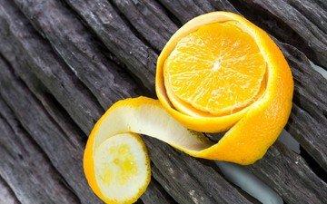 фрукты, апельсин, цитрусы, цедра, очищенный