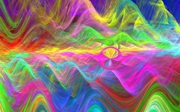 горы, абстракция, волны, фон, цвет, графика, шар, круг, фрактал