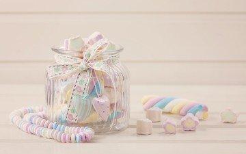 конфеты, банка, зефир, candies, драже, сладенько, маршмэллоу