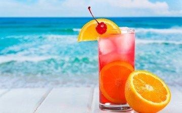 напиток, море, лёд, апельсин, коктейль, цитрус, вишенка
