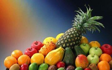 фрукты, яблоки, апельсины, лимон, лайм, киви, ананас, авокадо, манго, фейхоа, экзотические фрукты