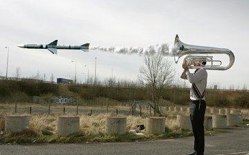 пейзаж, ракета, труба, музыкант, пуск