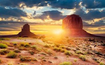 свет, солнце, пустыня, сша, юта, штат аризона, долина монументов, геологическое образование