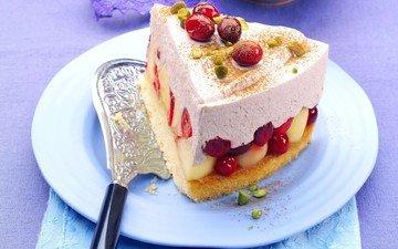 крем для торта, фрукты, ягоды, сладкое, торт, десерт, пирожное