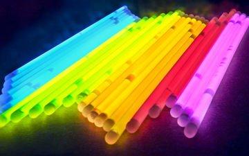 свет, абстракция, цвет, свечение, палочки, трубочки, глау