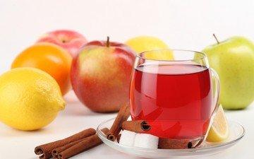 отражение, напиток, корица, яблоки, лимон, блюдце, чашка, чай, сахар, ломтик, фруктовый чай