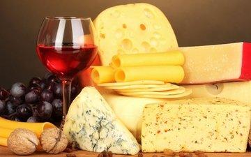 орехи, виноград, бокал, сыр, вино, изюм, виногдад, разные сорта сыра