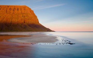 небо, вода, скала, песок, пляж, горизонт, гора