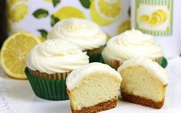 крем для торта, лимон, сладкое, десерт, пирожные, кекс, кексики