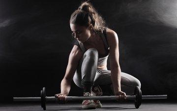 девушка, поза, фитнес, штанга, вес