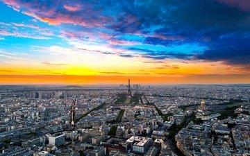 небо, облака, горизонт, город, дома, париж, здания, франция, улицы, эйфелева башня