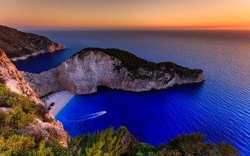 скалы, море, пляж, остров, греция, ionian islands, navagio