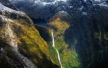 mountains, waterfall, new zealand, cascade, the fjord, sutherland falls, milford sound, south island